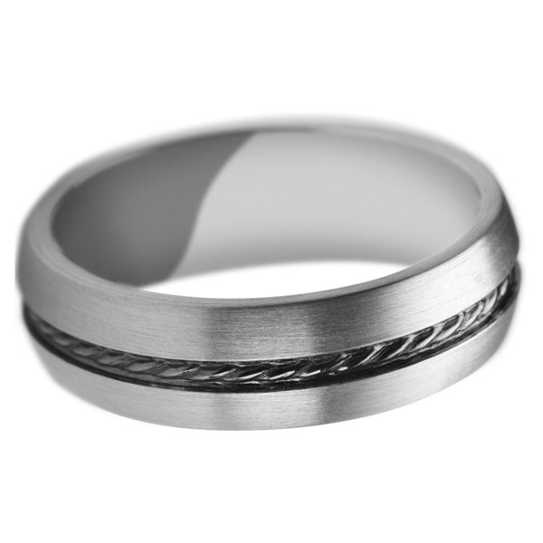 Palladium wedding band with centre oxidised detail