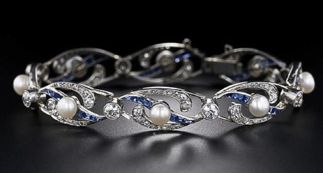 French Edwardian pearl, diamond, sapphire and platinum bracelet