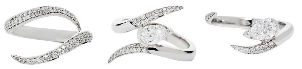 The iconic Shaun Leane intertwined engagement ring set, showing the way the accent stones can be set as a double row. This ring above shows this done really nicely and more in keeping with traditional pave, as it starts with two stones side by side and tapers gracefully to one stone.