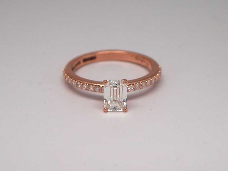 14kt rose gold and emerald cut engagement ring