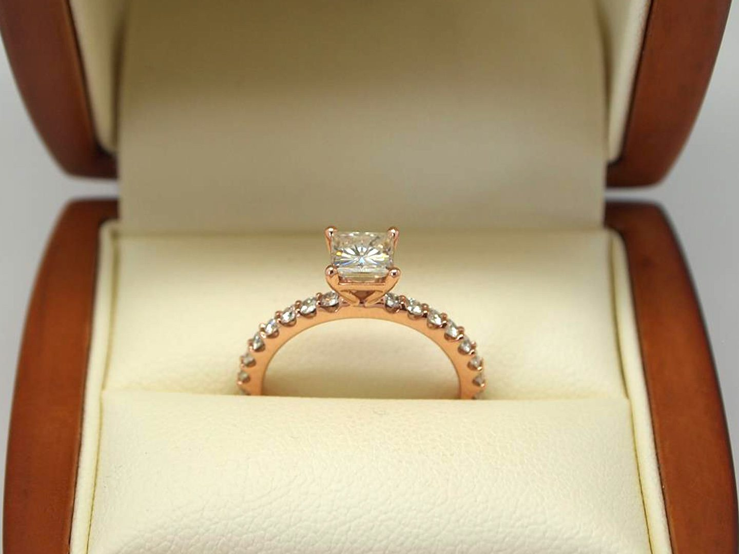 14kt rose gold diamond and morganite engagement ring