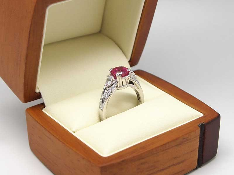Pink Chatham sapphire and diamond ring