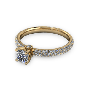 Cushion cut diamond with pave band