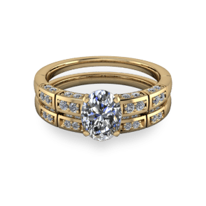 14kt diamond segmented wedding band