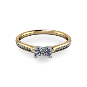 Elegant oval four claw 14ct yellow gold ring5