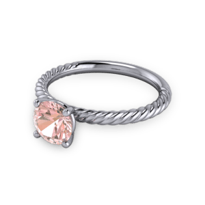 Twisted pink sapphire engagement ring