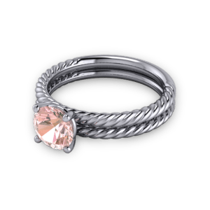 Twisted pink sapphire wedding ring set