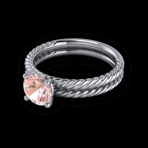 Twisted pink sapphire wedding ring set