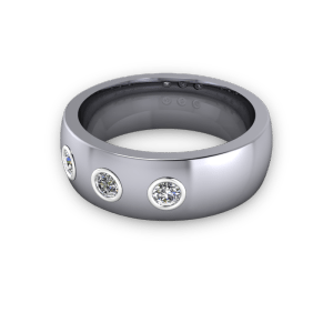 Three stone mens wedding band