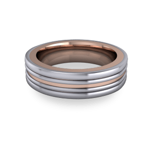 Mixed metal grooved band