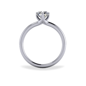 Contemporary three claw diamond ring