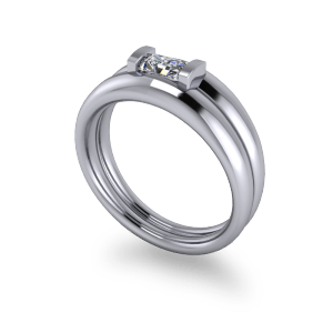 Moissanite commitment ring