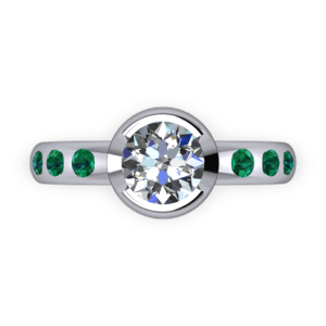 Part bezel set diamond and emerad ring