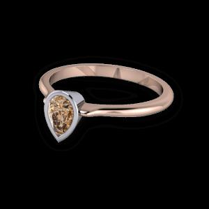 Pear shaped cognac diamond ring