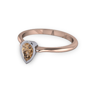 Pear shaped cognac diamond ring