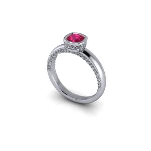 Ruby and diamond bezel set ring