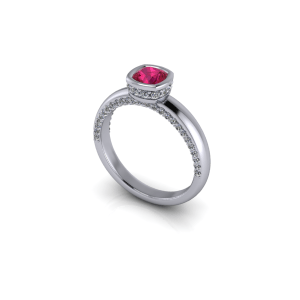 Ruby and diamond bezel set ring