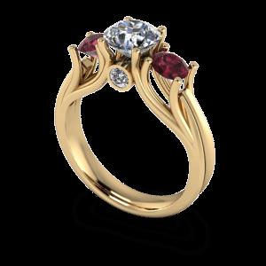 Organic gold 3 stone ring