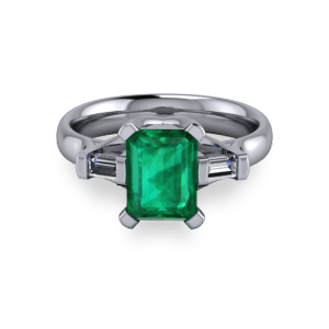 Radiant emerald platinum modern ring