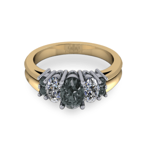 Black diamond mixed metal commitment ring