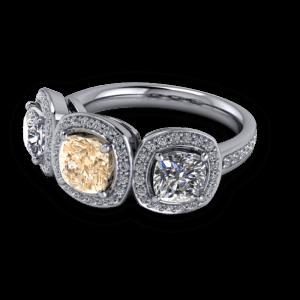 Vintage champagne diamond halo ring