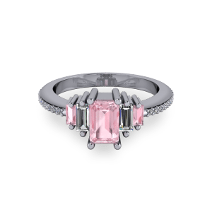 Radiant Pink morganite art deco engagement ring