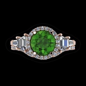 Tourmaline diamond halo rose gold engagement ring set
