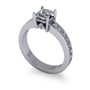 Contemporary princess cut diamond ring