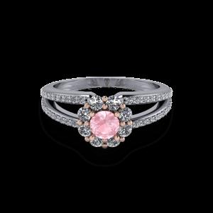 Pink morganite plit shank halo engagement diamond ring