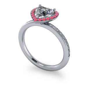 Pink and white diamond halo ring