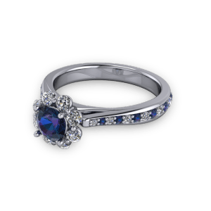 Alexandrite diamond halo tapered vintage cathedral ring