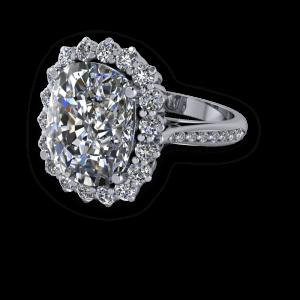 Large cushion diamond halo traditional engagement ring