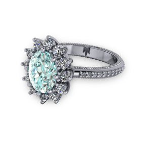 Large blue diamond halo vintage engagement platinum ring