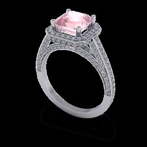 Pink Ascher diamond halo luxury platinum engagement ring