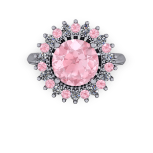 Pink Morganite and diamond halo cathedral engagement ring