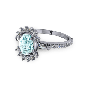 Aquamarine unusual vintage diamond platinum engagement ring