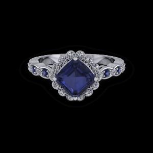 Vintage radiant cut sapphire and diamond halo ring