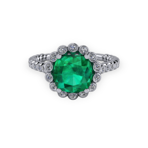 Organic Vintage style emerald custom halo ring
