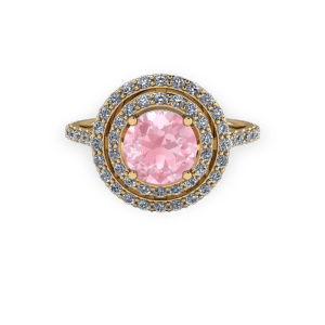 Double halo Gold diamond and pink engagement ring