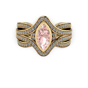 Gold Diamond and morganite marquise bold engagement ring