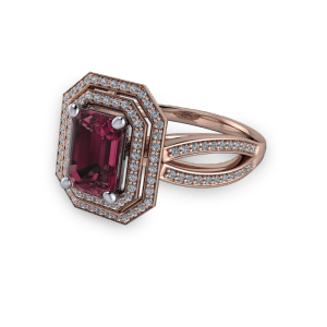 Rose gold and garnet diamond double halo emerald cut ring
