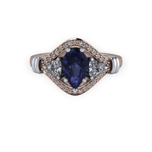 Rose gold and platinum Pear sapphire vintage 3 stone engagement ring