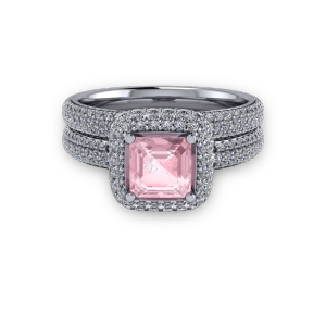 Platinum Pink ascher and diamond pave halo ring set