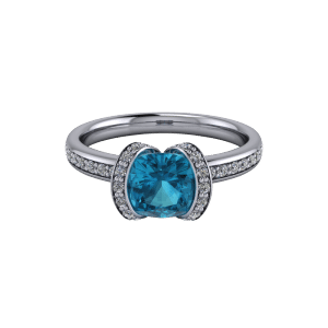 White gold blue topaz and diamond bespoke half halo engagement ring