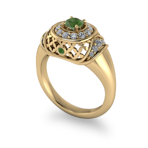 Arabian style vintage gold and peridot dress ring