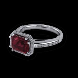 Stunning geometric vintage ruby platinum engagement ring