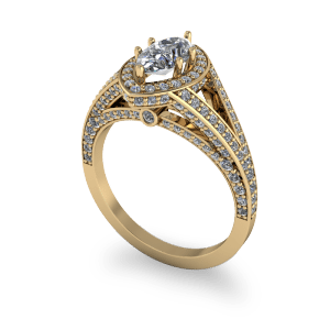 Marquis diamond cathedral style commitment ring