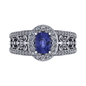 Oval tanzanite filligree commitment platinum ring