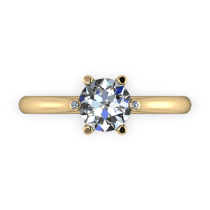 Six claw solitaire with diamond tip