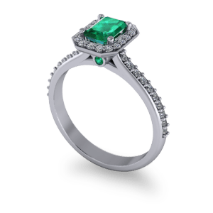 Beautiful emerald halo ring